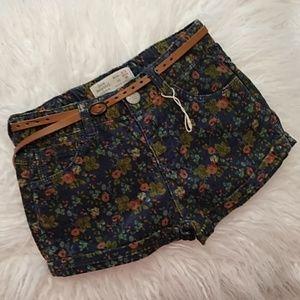 NWOT Zara baby girls floral corduroy shorts